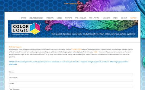 Screenshot of Support Page color-logic.com - COLOR-LOGIC   Special Effects for Print - captured Sept. 28, 2018