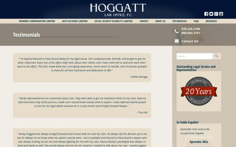 Screenshot of Testimonials Page hoggattlaw.com captured Jan. 30, 2016