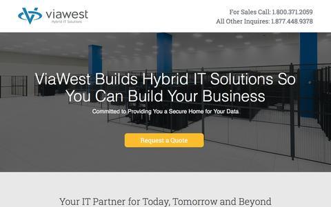Screenshot of Landing Page viawest.com - ViaWest Colocation - captured April 15, 2016