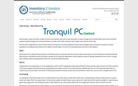 Screenshot of Case Studies Page inventory2invoice.com - Case study - Manufacturing   inventory 2 invoice - captured Sept. 30, 2014