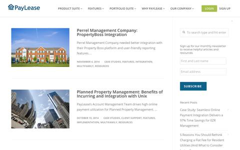 Screenshot of Case Studies Page paylease.com - Features | PayLease - captured Aug. 4, 2018