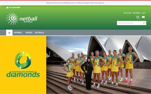 Screenshot of Home Page mynetballshop.com.au - My Netball Shop:: Netball Australia - captured Sept. 6, 2015