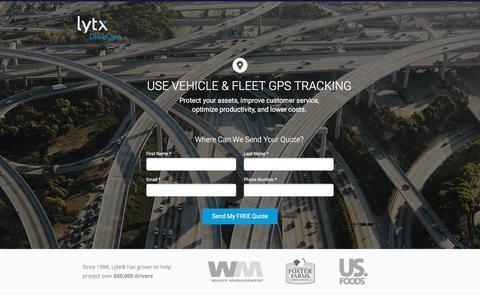 Screenshot of Landing Page lytx.com - Vehicle & Fleet GPS Tracking | Lytx - captured Sept. 13, 2017