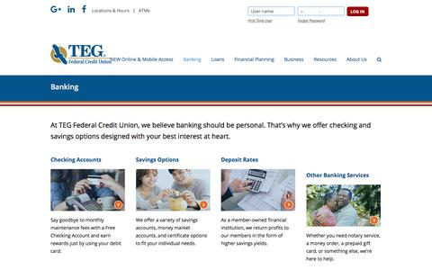 Screenshot of tegfcu.com - Banking – TEG Federal Credit Union - captured Dec. 2, 2017