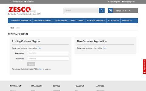 Screenshot of Login Page zesco.com - Customer Login - captured Jan. 21, 2016
