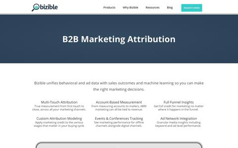 Screenshot of Products Page bizible.com - B2B Marketing Attribution | Bizible - captured Sept. 20, 2017