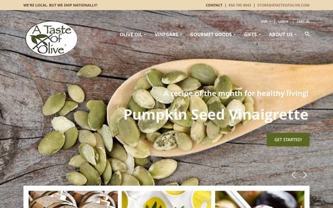 Screenshot of Home Page atasteofolive.com - A Taste of Olive | A Taste of Olive - The freshest and highest quality oils, vinegars... - captured Oct. 8, 2015