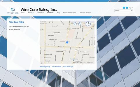 Screenshot of Maps & Directions Page wirecoresales.com - Directions - captured Oct. 7, 2014