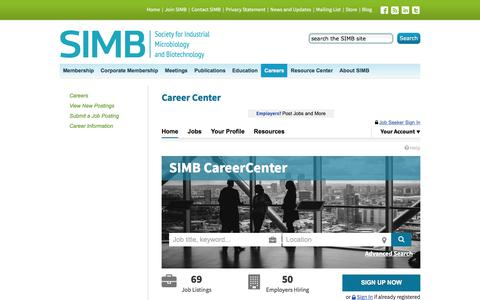 Screenshot of Jobs Page simbhq.org - Society for Industrial Microbiology and Biotechnology  (SIMB), SIMB CareerCenter|Find Your Career Here - captured Oct. 22, 2017