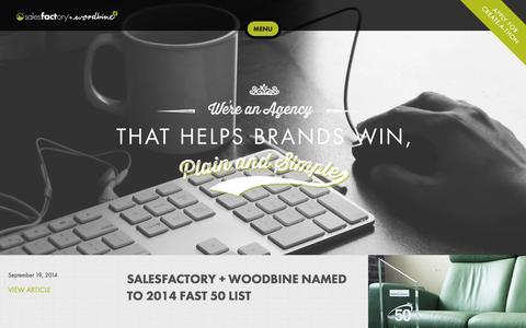 Screenshot of Press Page salesfactorywoodbine.com - News | Salesfactory + Woodbine - captured Sept. 22, 2014