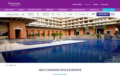 Screenshot of About Page cinnamonhotels.com - Best Sri Lanka Hotels | About Cinnamon Hotels & Resorts - captured Jan. 28, 2016