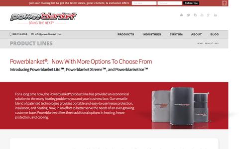 Screenshot of Products Page powerblanket.com - Product Lines - PowerblanketPowerblanket - captured July 15, 2016