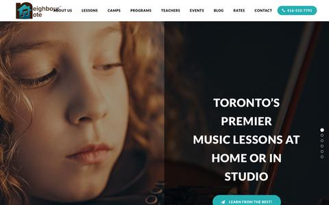 Screenshot of Home Page neighbournote.ca - Private Music Lessons - Music School Toronto - Neighbour Note - captured Aug. 14, 2019
