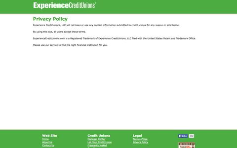 Screenshot of Privacy Page experiencecreditunions.com - Privacy Policy | Experience Credit Unions - captured Oct. 3, 2014