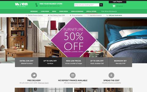 Screenshot of Home Page wrenliving.com - Wren Living - Furniture For Bedrooms, Lounge & Dining - captured Sept. 23, 2014