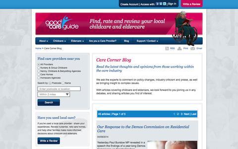Screenshot of Blog goodcareguide.co.uk - Good Care Guide   Care Corner Blog   Childcare & Eldercare - captured Sept. 19, 2014
