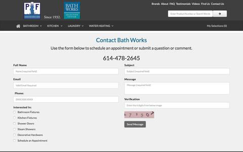 Screenshot of Contact Page bathworks.us - Contact Bath Works - Columbus Ohio - captured Aug. 1, 2018