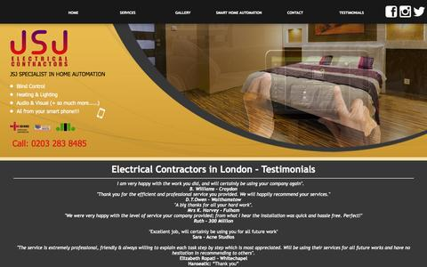 Screenshot of Testimonials Page jsjelectricalcontractors.co.uk - Electrical Contractors London - Testimonials - JSJ Electrical : JSJ Electrical Contractors - captured Sept. 30, 2014