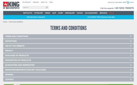 Screenshot of Terms Page kingofwatersports.com - Wetsuits, Kitesurf, SUP, Wake & More   King of Watersports - captured June 9, 2017