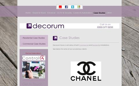 Screenshot of Case Studies Page decorum-technology.co.uk - Audio Visual Installers | Leicestershire, Lancashire & Cambridgeshire | Decorum Technology | Case Studies - captured Jan. 7, 2016