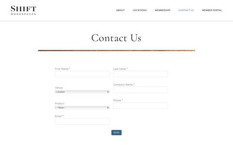 Screenshot of Contact Page shiftworkspaces.com - Contact Us | Shift Workspaces - captured June 12, 2017