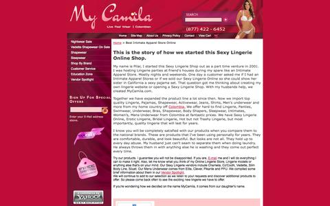 Screenshot of About Page mycamila.com - How we started this Sexy Lingerie Online Shop | Intimate Apparel Stores - captured Oct. 7, 2014