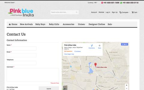 Screenshot of Contact Page Support Page pinkblueindia.com - Contact Us - captured July 13, 2016