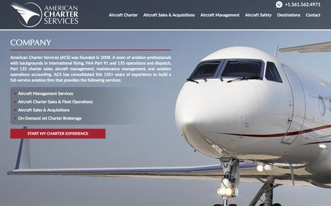 Screenshot of About Page flywithacs.com - Company – Private Jet Charter   American Charter Services - captured Oct. 3, 2018