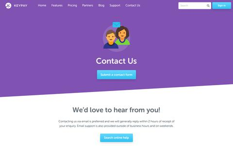 Screenshot of Contact Page keypay.com.au - Contact Us - KeyPay | Powerful cloud payroll - captured Oct. 14, 2018