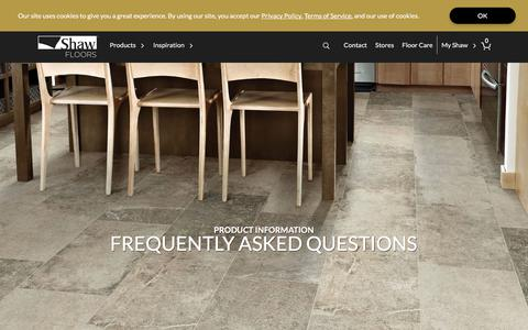 Screenshot of FAQ Page shawfloors.com - Frequently Asked Flooring Questions | Shaw Floors - captured July 28, 2019