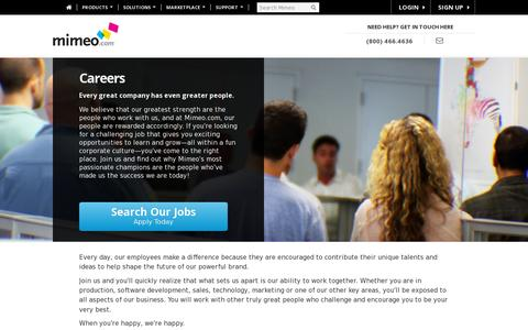 Screenshot of Jobs Page mimeo.com - Careers - Mimeo.com - captured July 20, 2014