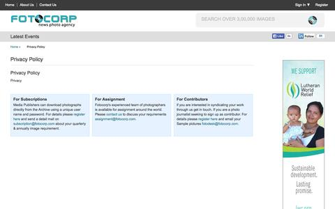 Screenshot of Privacy Page fotocorp.com - Fotocorp: Indias Foremost News Photo Agency - fotocorp.com - captured Oct. 6, 2014