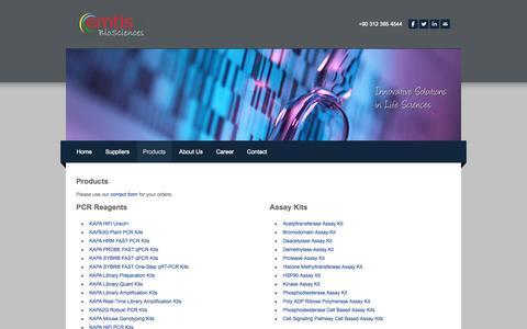 Screenshot of Products Page ebiosc.com - Products - Emtis BioSciences, Turkey - PCR Reagents, DNA/RNA Isolation, Chemicals, Assay Kits - Emtis BioSciences - captured Oct. 2, 2014