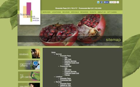 Screenshot of Site Map Page karenallensalon.com - Sitemap | Karen Allen Salon & Spa | Riverside, CA - captured Oct. 6, 2014