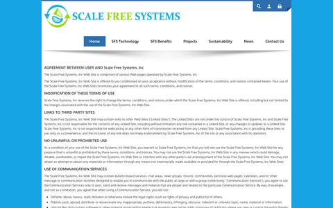 Screenshot of Terms Page scalefreeintl.com - Scale Free Systems | Non Chemical Water Treatment | Non-Chemical | Green Technology | Sustainable Solutions - captured Feb. 4, 2016