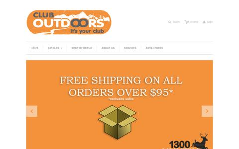 Screenshot of Home Page cluboutdoors.com.au - Club Outdoors stocks a comprehensive range of quality products for outdoor adventures on land and water. - captured July 22, 2015
