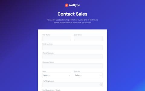 Screenshot of Contact Page swiftype.com - Contact Us - Swiftype - captured Oct. 15, 2017