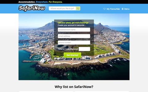 Screenshot of Signup Page safarinow.com - South Africa accommodation, hotels, self catering, 22385 places to stay in 68 countries! - captured Dec. 3, 2015