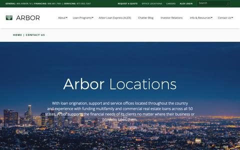 Screenshot of Contact Page arbor.com - Contact Us - | Arbor Realty - captured Dec. 9, 2018