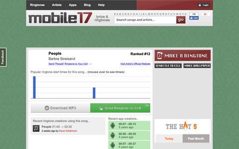 Screenshot of Team Page mobile17.com - Ringtones | People by Barbra Streisand | Mobile17 - captured Nov. 18, 2018