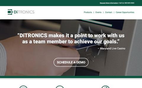 Screenshot of Home Page ditronics.com - DiTRONICS | Defining the Cash Access Industry - captured April 11, 2019