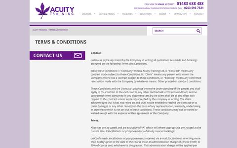 Screenshot of Terms Page acuitytraining.co.uk - Acuity Training - Terms and Conditions - captured Sept. 30, 2014