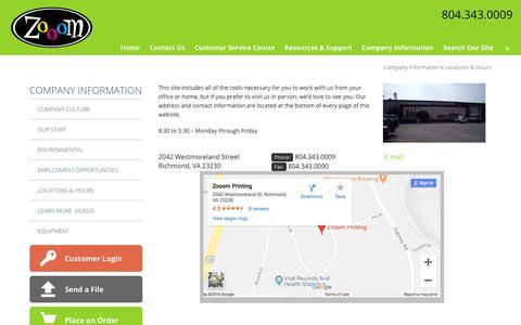 Screenshot of Locations Page zooomprinting.com - Insert Printing | Magazine Printing | Poster | Brochure | Richmond, VA - captured Sept. 21, 2018