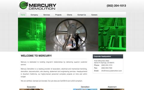 Screenshot of Home Page mercurydemolition.com - Mercury Demolition - captured Sept. 30, 2014