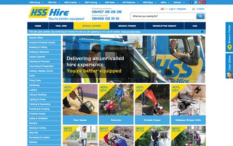Screenshot of Home Page hss.com - Tool and Equipment Hire | HSS Hire - captured Sept. 24, 2014