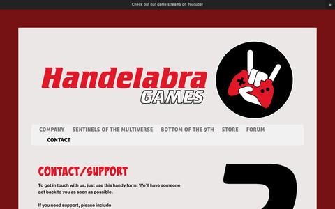 Screenshot of Contact Page handelabra.com - Contact — Handelabra Games - captured May 10, 2017