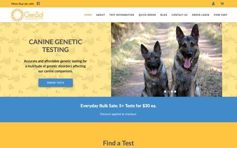 Screenshot of Home Page gensoldx.com - Dog DNA Testing   GenSol Diagnostics - captured Sept. 27, 2018