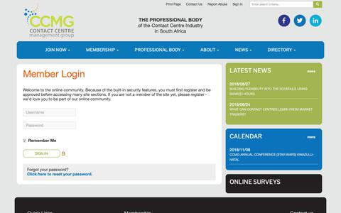 Screenshot of Login Page ccmg.org.za - Professional Body for the Contact Centre Industry - captured Nov. 8, 2018