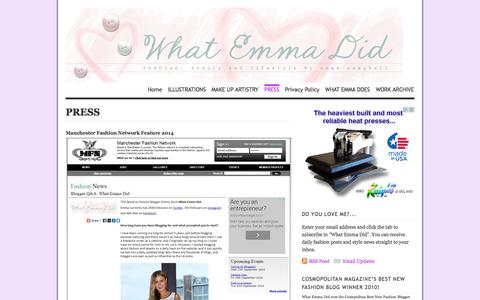 Screenshot of Press Page whatemmadid.com - PRESS | What Emma Did | Fashion Blog - captured Oct. 6, 2014
