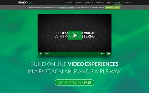 Screenshot of Home Page sezion.com - Automatic video editing and generation SaaS at scale | Sezion - captured July 17, 2014